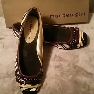 Madden Girl Zebra Ballet Flats-like new
